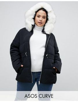 Asos Design Curve Puffer Jacket With Waist Detail And Faux Fur Hood by Asos Design