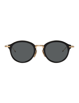 Black & Gold Tbs908 Sunglasses by Thom Browne