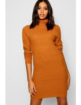 Longline Rib Knit Roll Neck Tunic by Boohoo