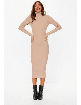 Tan Roll Neck Ribbed Knitted Midi Dress by Missguided