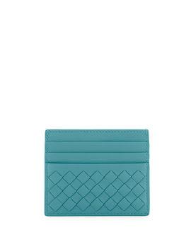 Woven Leather Credit Card Case by Bottega Veneta