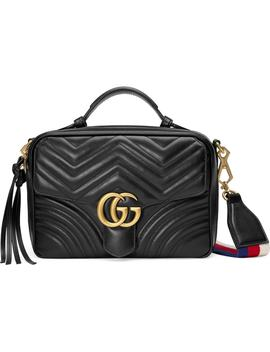 Small Gg Marmont 2.0 Matelassé Leather Camera Bag With Webbed Strap by Gucci