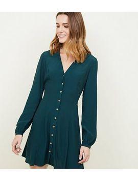 Dark Green Balloon Sleeve Button Front Tea Dress by New Look