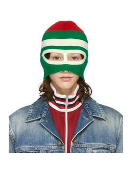 Green & Red Wool Balaclava by Gucci