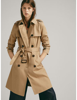 Trenchcoat I Twill Med BÆlte by Massimo Dutti