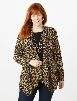 Plus Size Leopard Print Cardigan by Dressbarn