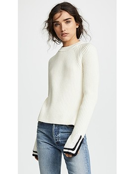 Crochet Detail Crew Neck Sweater by Helmut Lang
