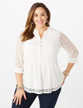 Plus Size Lace Popover by Dressbarn