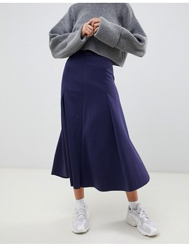 Asos Design Longer Length Midi Prom Skirt In Scuba With Pleat Detail by Asos Design