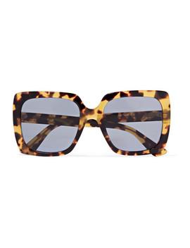 Oversized Crystal Embellished Square Frame Tortoiseshell Acetate Sunglasses by Gucci