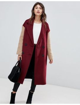 Asos Design Coat With Contrast Blocking by Asos Design