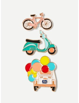 Bicycle & Car Brooch Set 3pcs by Romwe