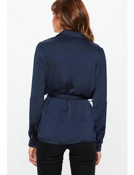 Navy Military Tie Waist Blouse by Missguided