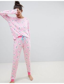 Chelsea Peers Magic Unicorn Rainbow Long Pajama Set by Chelsea Peers