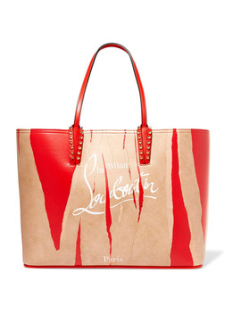 Cabata Kraft Studded Printed Leather Tote by Christian Louboutin