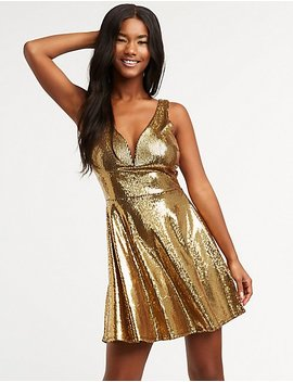 Wired Sequin Skater Dress by Charlotte Russe