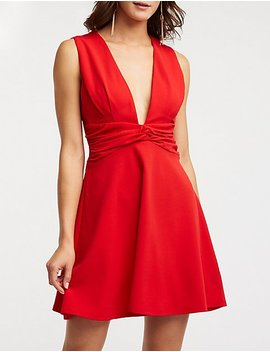 Front Twist Skater Dress by Charlotte Russe
