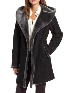 Hooded Merino Shearling Coat by Hiso