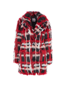 Red Berry Faux Fur Coat by Urbancode