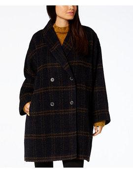 Plaid Alpaca Blend Shawl Collar Coat by Eileen Fisher