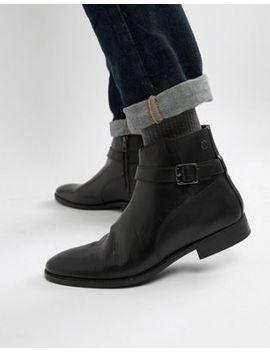 Base London Fern Chelsea Buckle Boots In Black by Base London
