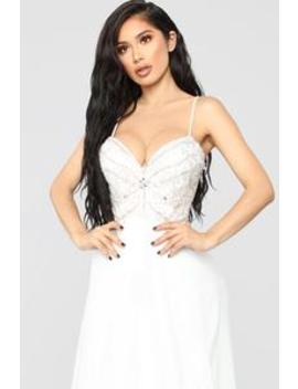 Delicate And Dainty Embellished Gown   Off White by Fashion Nova