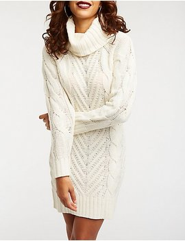 Turtle Neck Cable Knit Sweater Dress by Charlotte Russe