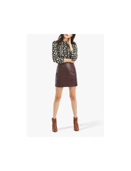 Oasis Faux Leather Mini Skirt, Burgundy by Oasis