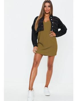 Khaki Crepe Slip Shift Dress by Missguided
