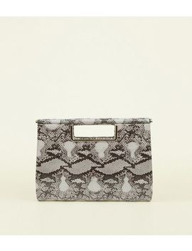 Black Faux Snake Clutch Bag by New Look