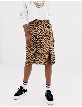 New Look Animal Print Button Through Skirt In Leopard by New Look