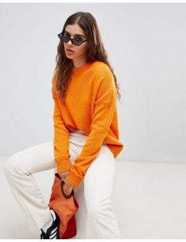Weekday Knit Jumper With Middle Seam Detail In Orange Melange by Weekday