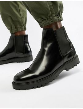 Zign Chelsea Boots In Black High Shine by Zign
