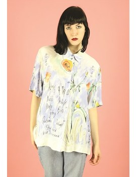 Vintage Pastel Floral Oversized 90s Shirt Blouse by Tantrum