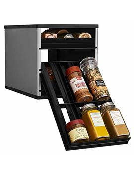 You Copia 02181 02 Slv Original Spice Stack 18 Bottle Spice Rack Organizer With Universal Drawers, Silver by You Copia