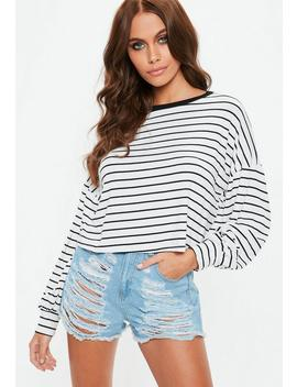 White Drop Shoulder Boxy All Over Stripe Top by Missguided