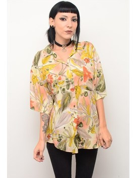 Vintage 90's Arty Floral Patterned Slouchy Shirt by Cherry Came To