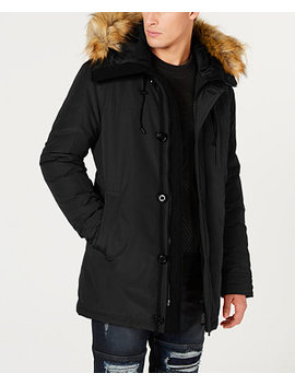 Men's Hooded Parka With Removable Faux Fur Trim by Guess