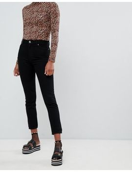 Monki Kimomo High Waist Mom Jeans In Deep Black by Monki
