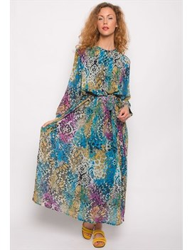 Blue Leopard Floral Print Chiffon Long Sleeves Maxi Dress by Exceptional London