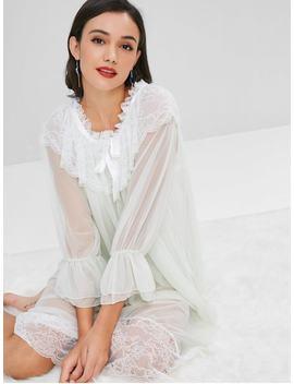 Lace Flounce Mesh Nightgown Dress   Light Cyan by Zaful
