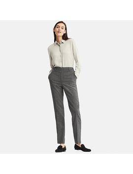 Women Ezy Tweed Chalk Stripe Trousers by Uniqlo