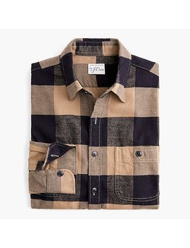 Midweight Herringbone Flannel Shirt In Buffalo Plaid by J.Crew