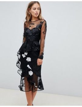 Asos Design Long Sleeve Midi Dress With Embroidered Flowers And Ruffle Detail by Asos Design