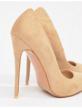 Pretty Little Thing Faux Suede High Heeled Court Shoe In Camel by Pretty Little Thing