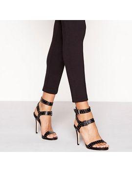 Faith   Black Studded High Stiletto Heel Sandals by Faith
