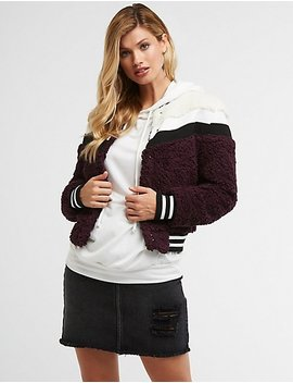 Faux Fur Varsity Bomber Jacket by Charlotte Russe