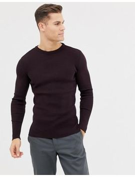New Look Muscle Fit Ribbed Jumper In Burgundy by New Look
