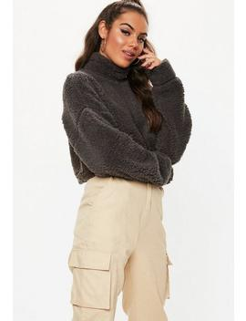Grey Teddy High Neck Cropped Sweatshirt by Missguided