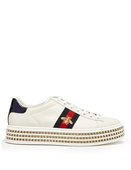 New Ace Crystal Embellished Leather Trainers by Matches Fashion